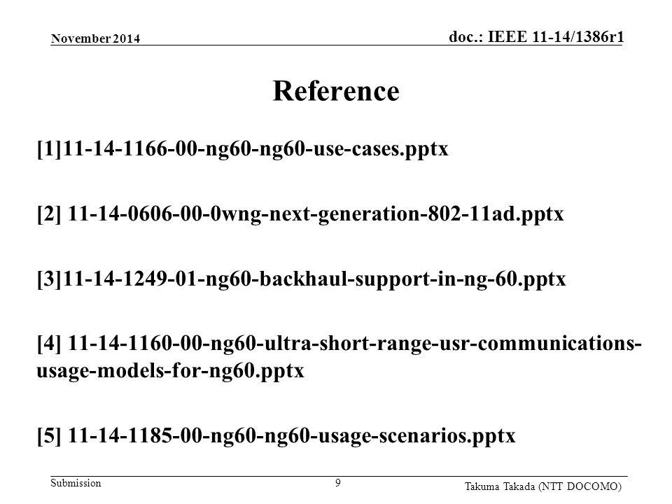 Submission doc.: IEEE 11-14/1386r1 Takuma Takada (NTT DOCOMO) Reference [1]11-14-1166-00-ng60-ng60-use-cases.pptx [2] 11-14-0606-00-0wng-next-generati