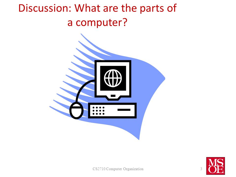 Discussion: What are the parts of a computer? CS2710 Computer Organization3