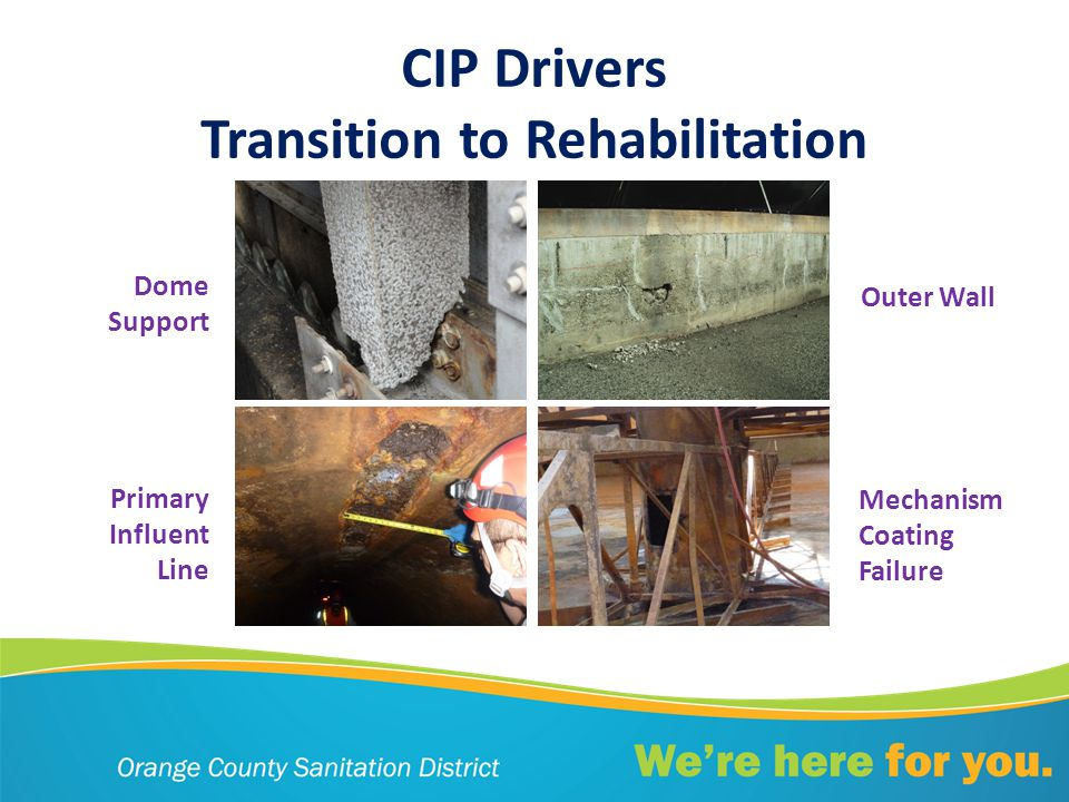 CIP Drivers Transition to Rehabilitation Dome Support Primary Influent Line Outer Wall Mechanism Coating Failure
