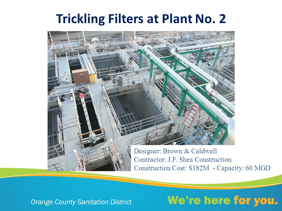 Trickling Filters at Plant No. 2 Designer: Brown & Caldwell Contractor: J.F.