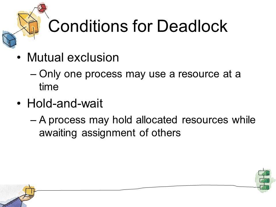Conditions for Deadlock Mutual exclusion –Only one process may use a resource at a time Hold-and-wait –A process may hold allocated resources while aw