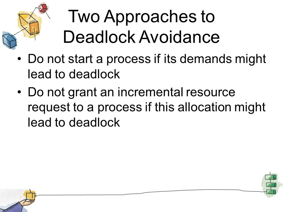 Two Approaches to Deadlock Avoidance Do not start a process if its demands might lead to deadlock Do not grant an incremental resource request to a pr