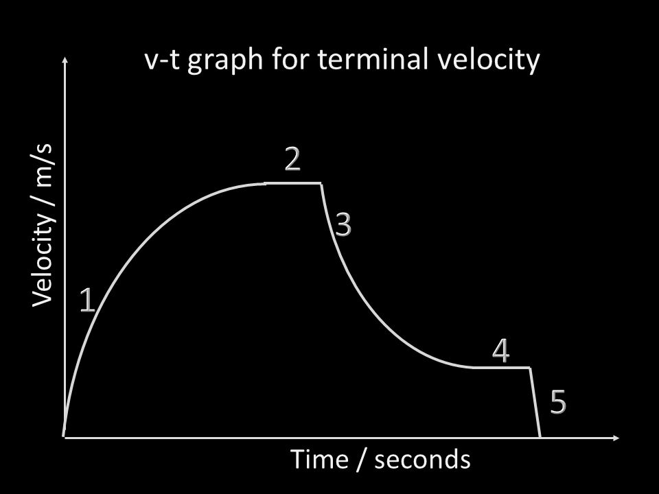 v-t graph for terminal velocity Time / seconds Velocity / m/s