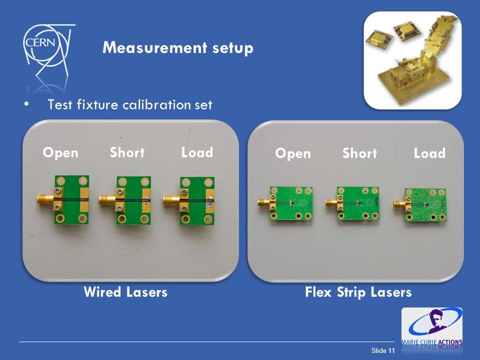 Slide 11 Measurement setup Test fixture calibration set OpenShortLoad Wired LasersFlex Strip Lasers OpenShortLoad