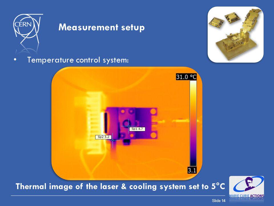 Slide 14 Measurement setup Temperature control system: Thermal image of the laser & cooling system set to 5°C