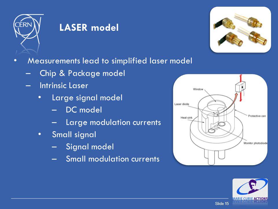 Slide 15 LASER model Measurements lead to simplified laser model –Chip & Package model –Intrinsic Laser Large signal model –DC model –Large modulation