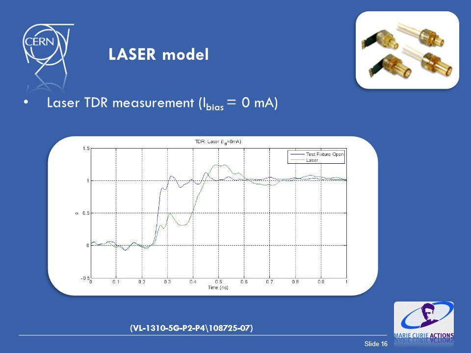 Slide 16 Laser TDR measurement (I bias = 0 mA) LASER model (VL-1310-5G-P2-P4\108725-07)