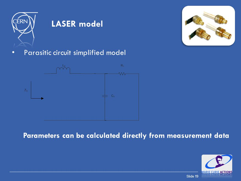 Slide 19 LASER model Parasitic circuit simplified model Parameters can be calculated directly from measurement data