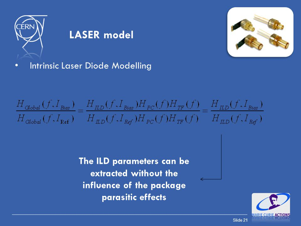 Slide 21 Intrinsic Laser Diode Modelling The ILD parameters can be extracted without the influence of the package parasitic effects LASER model