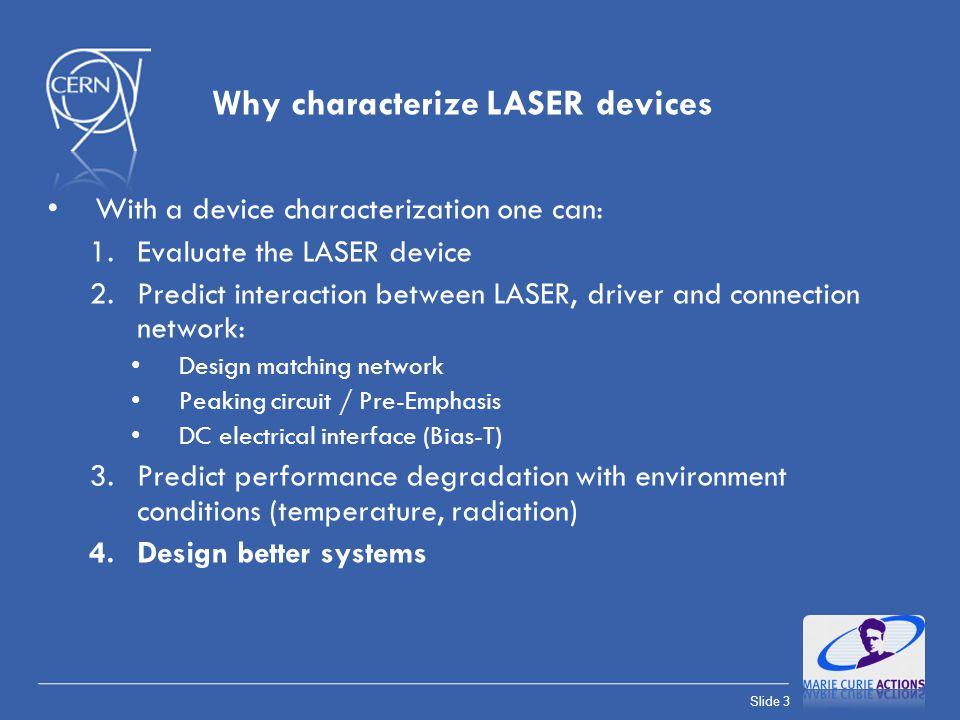 Slide 24 Laser model : Input Impedance (VL-1310-5G-P2-P4\108725-07) LASER model R S =24 Ω (extracted from S 11 ) R S =28 Ω (extracted from I-V) Agreement of DC internal resistance values between measures
