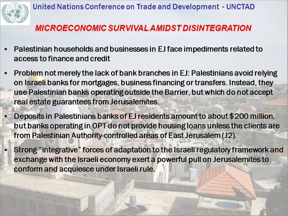 Palestinian households and businesses in EJ face impediments related to access to finance and creditPalestinian households and businesses in EJ face i