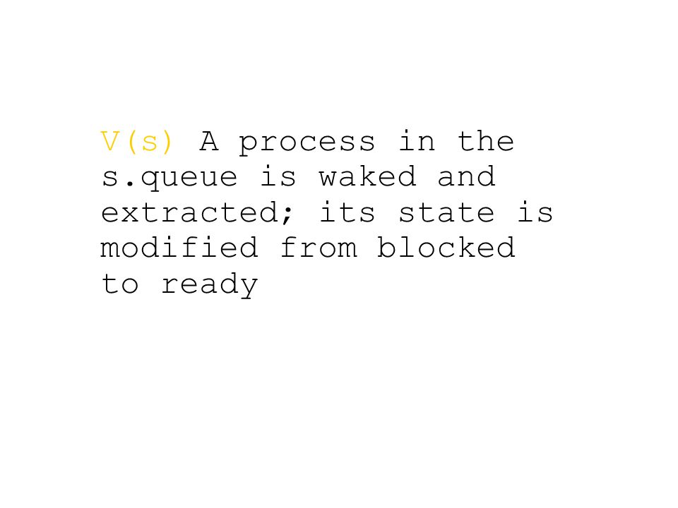 V(s) A process in the s.queue is waked and extracted; its state is modified from blocked to ready