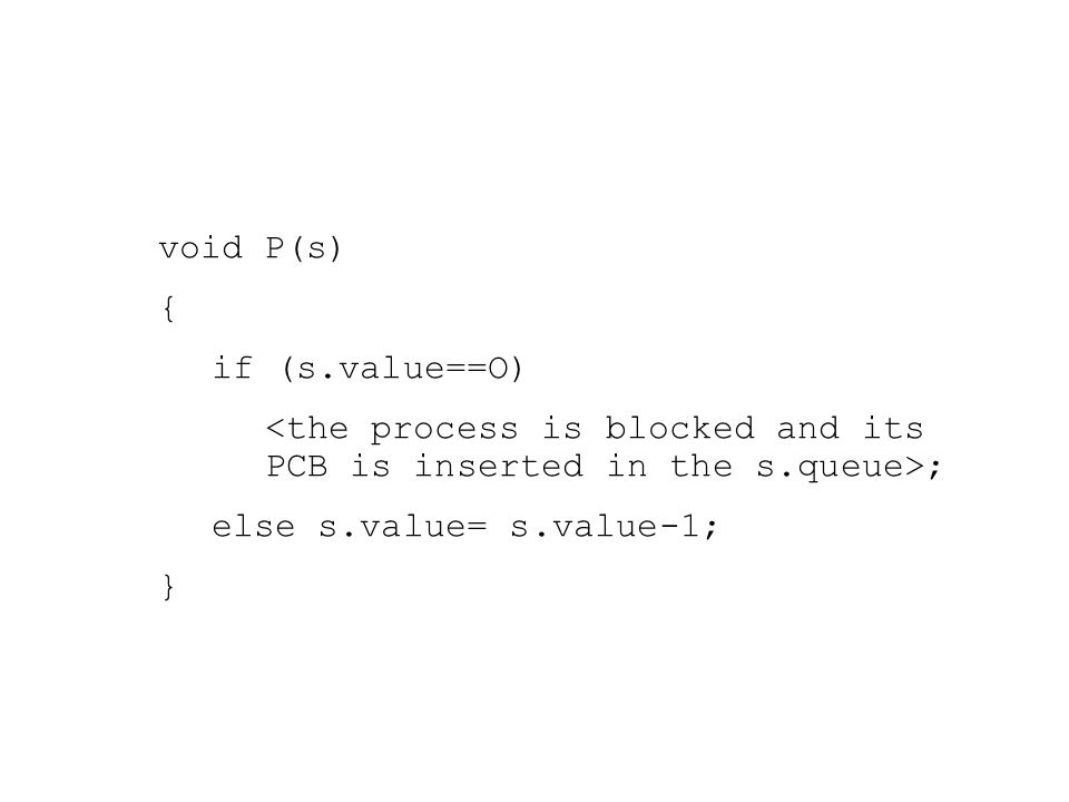 void P(s) { if (s.value==O) ; else s.value= s.value-1; }
