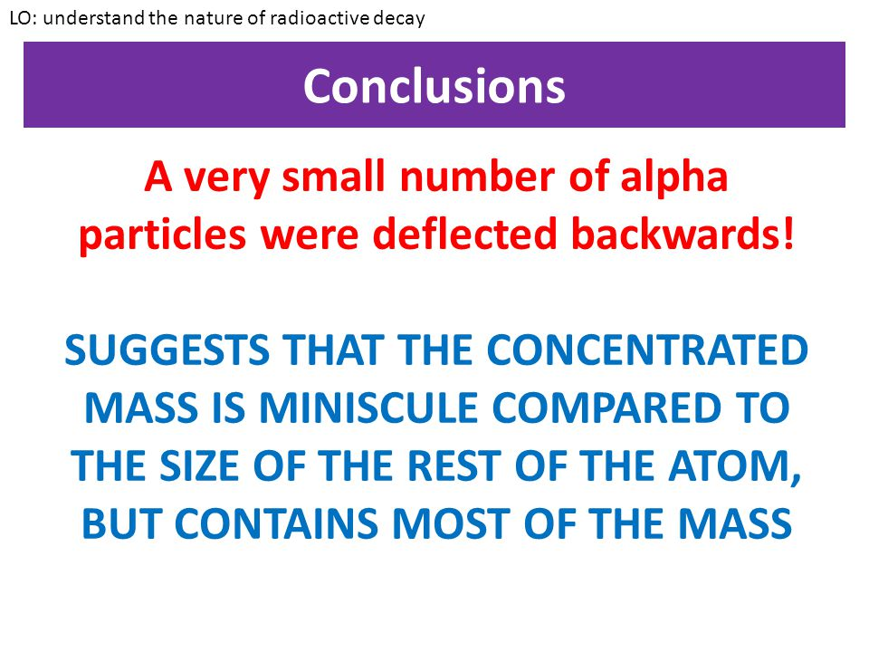 Conclusions LO: understand the nature of radioactive decay Some of the alpha particles were deflected back through large angles. A very small number o