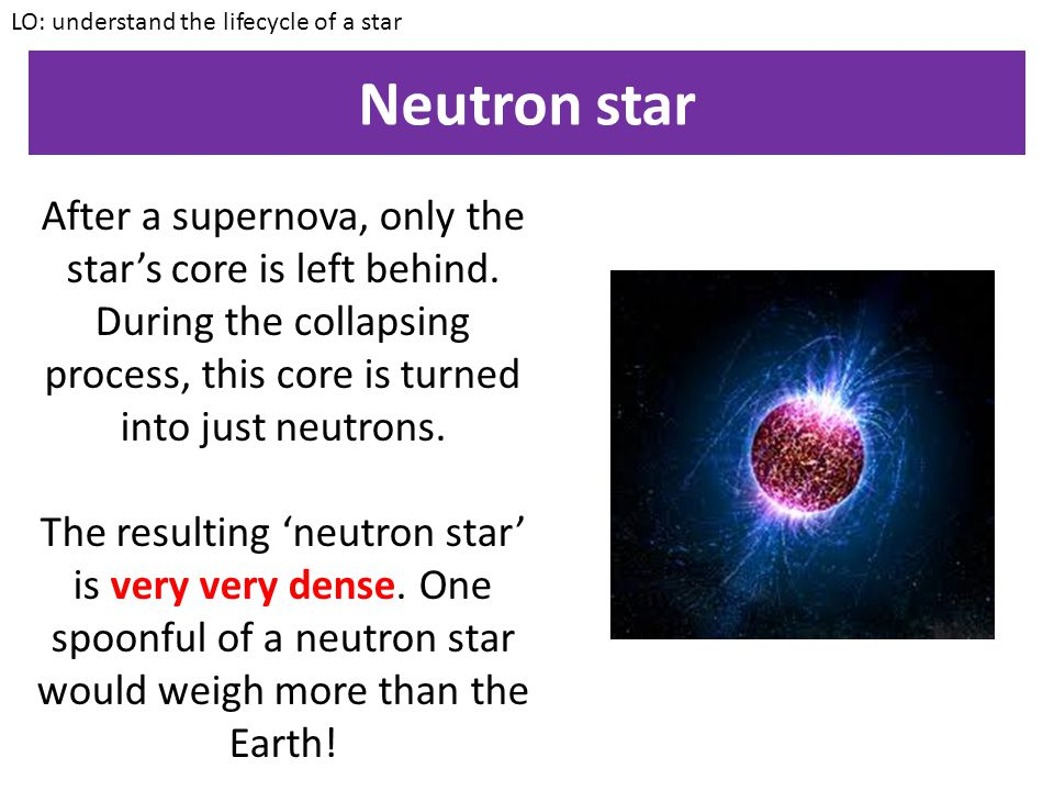 Supernova LO: understand the lifecycle of a star The shockwave is so large that the outer layers EXPLODE outwards.