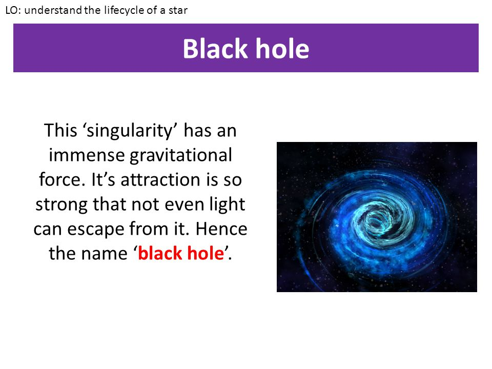 Black hole LO: understand the lifecycle of a star In some very very rare cases, the core of a star left over after a supernova will continue to collap