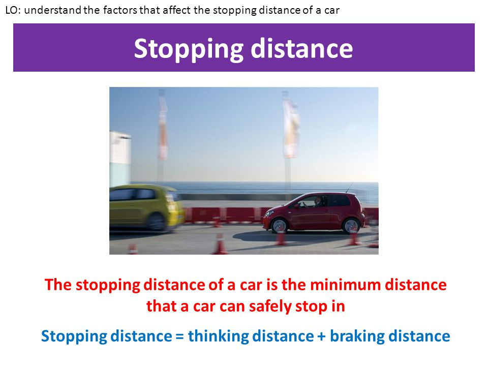 Streamlining LO: understand the factors that affect the stopping distance of a car Most of the resistance forces that act on a car are due to air resi