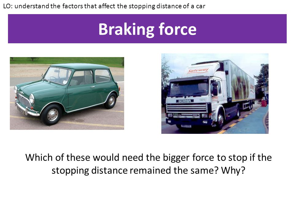Typical stopping distances What effect would factors such as drugs, alcohol, tiredness, higher speed, adverse weather, poor road conditions or worn ou