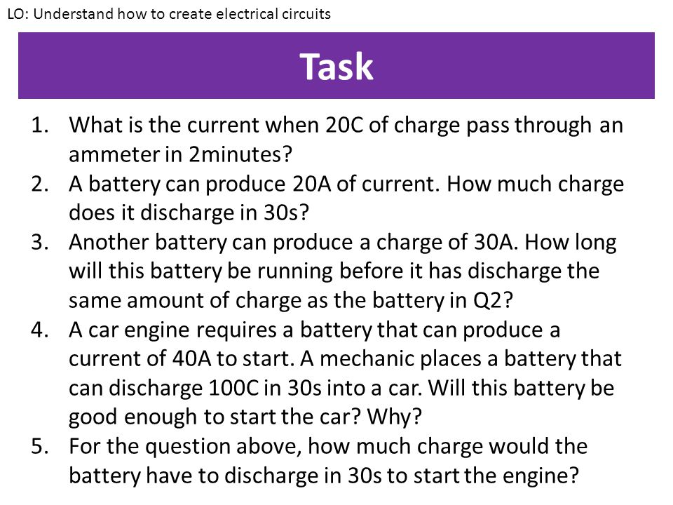 Example question 2 An ammeter is records a current of 8A.
