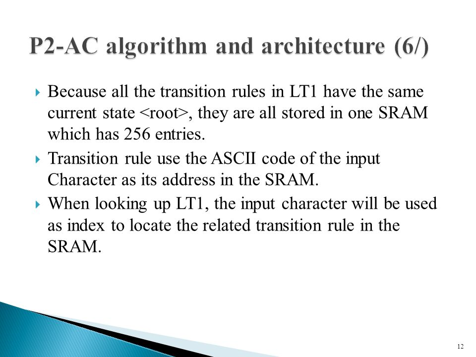 Because all the transition rules in LT1 have the same current state, they are all stored in one SRAM which has 256 entries.