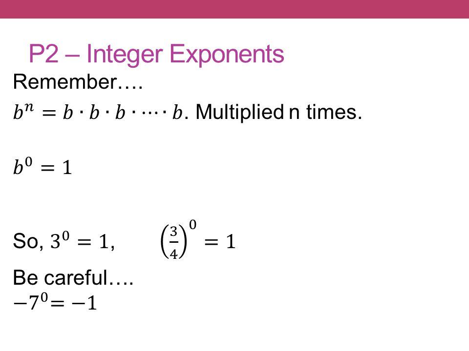 P2 – Integer Exponents