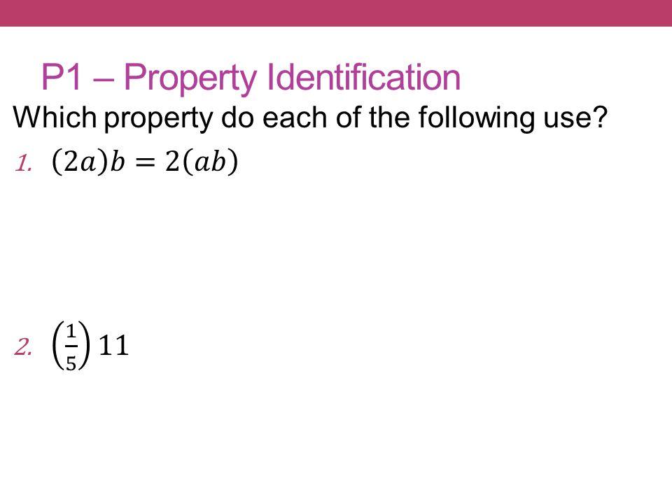 P1 – Property Identification