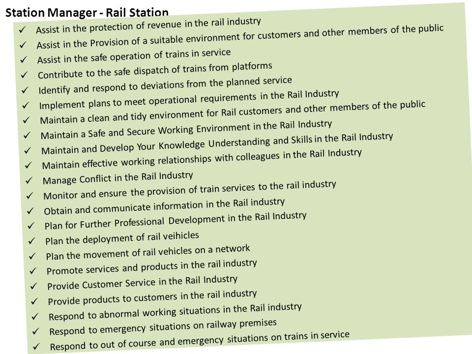 Station Manager - Rail Station Assist in the protection of revenue in the rail industry Assist in the Provision of a suitable environment for customer
