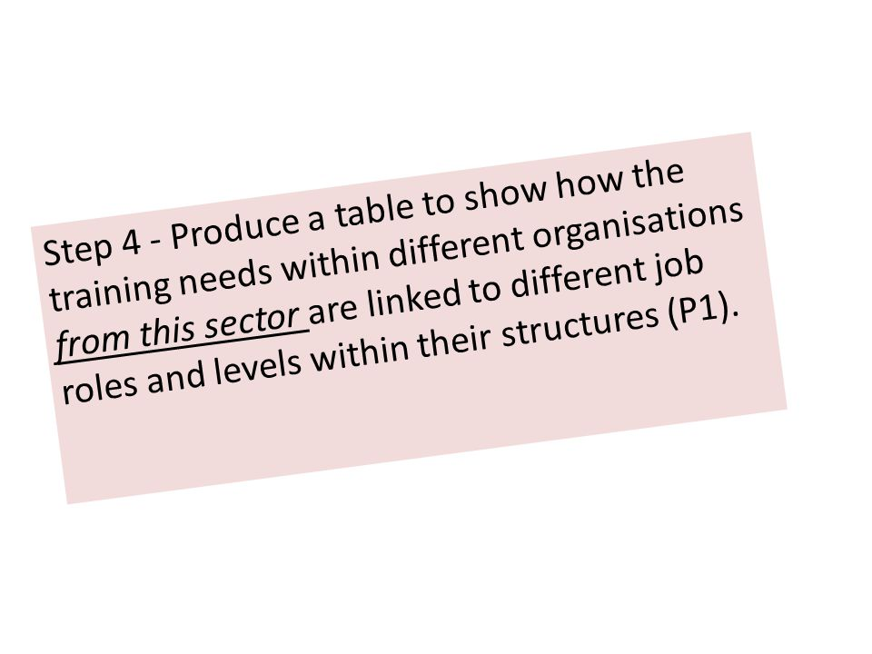 Step 4 - Produce a table to show how the training needs within different organisations from this sector are linked to different job roles and levels w