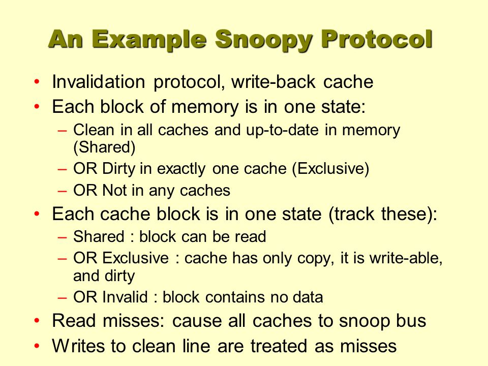 An Example Snoopy Protocol Invalidation protocol, write-back cache Each block of memory is in one state: –Clean in all caches and up-to-date in memory