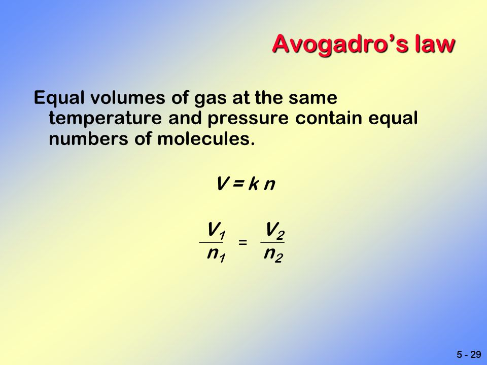5 - 29 Avogadro's law Equal volumes of gas at the same temperature and pressure contain equal numbers of molecules. V = k n V 1 V 2 n 1 n 2 =