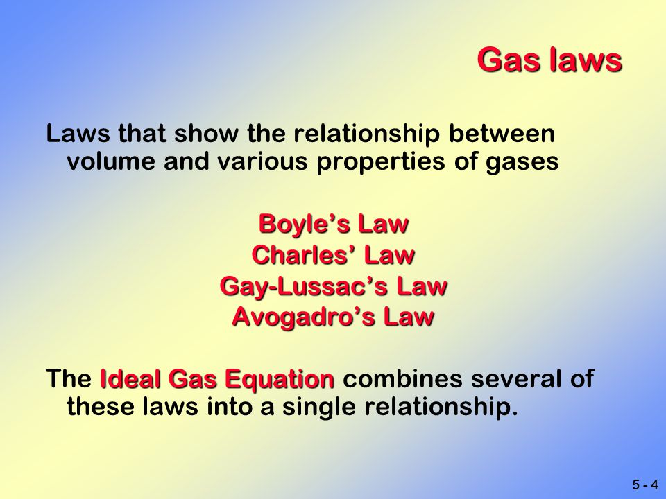 5 - 5 Boyle's law The volume of a gas is inversely proportional to its pressure.