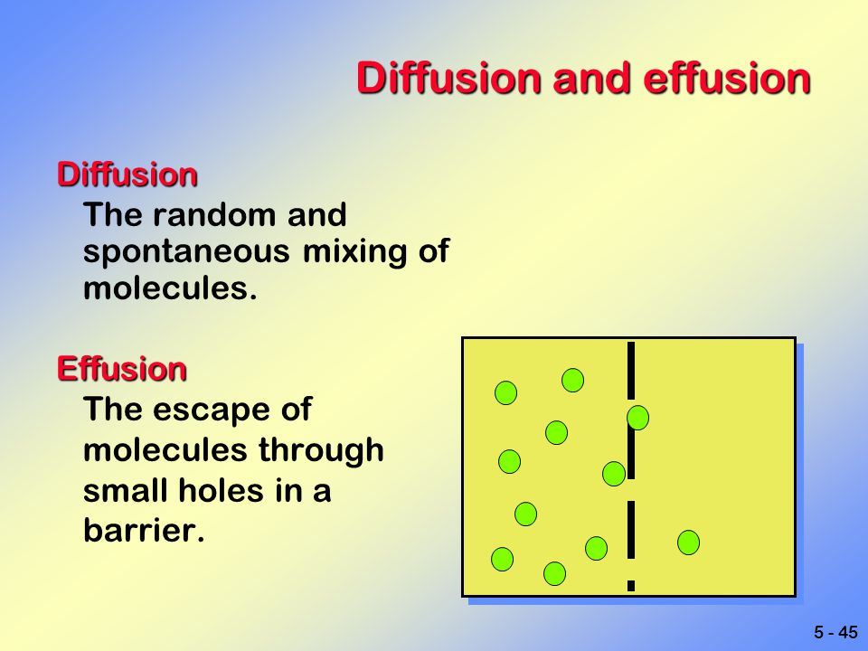 5 - 45 Diffusion and effusion Diffusion The random and spontaneous mixing of molecules.Effusion The escape of molecules through small holes in a barri