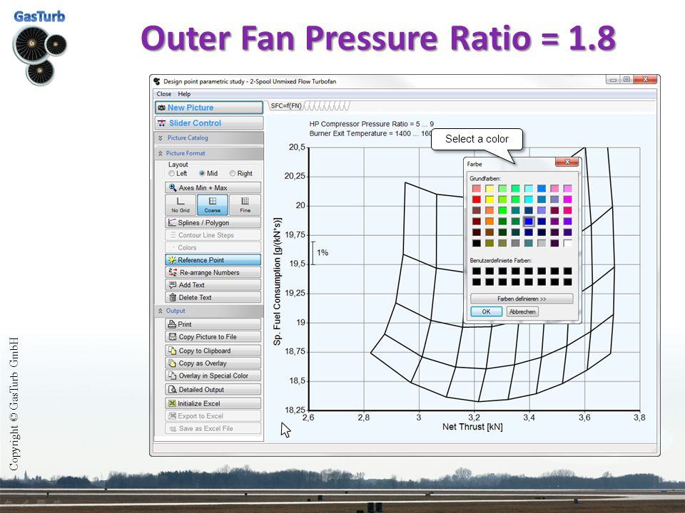 Outer Fan Pressure Ratio = 1.8 Select a color Copyright © GasTurb GmbH