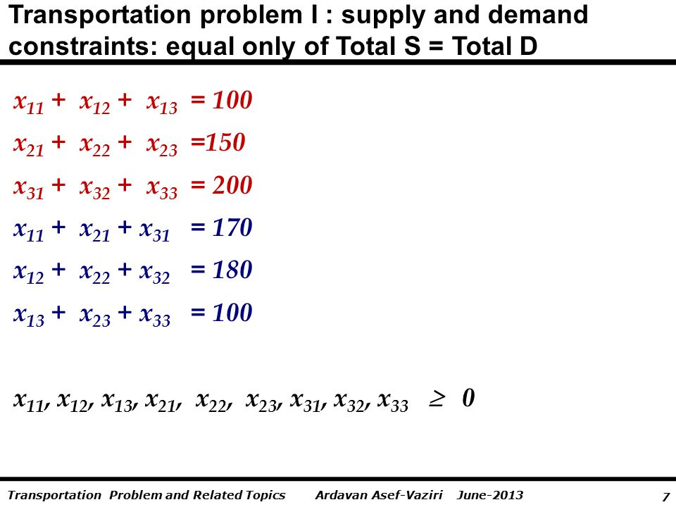 7 Ardavan Asef-Vaziri June-2013Transportation Problem and Related Topics Transportation problem I : supply and demand constraints: equal only of Total S = Total D x 11 + x 12 + x 13 = 100 x 21 + x 22 + x 23 =150 x 31 + x 32 + x 33 = 200 x 11 + x 21 + x 31 = 170 x 12 + x 22 + x 32 = 180 x 13 + x 23 + x 33 = 100 x 11, x 12, x 13, x 21, x 22, x 23, x 31, x 32, x 33  0