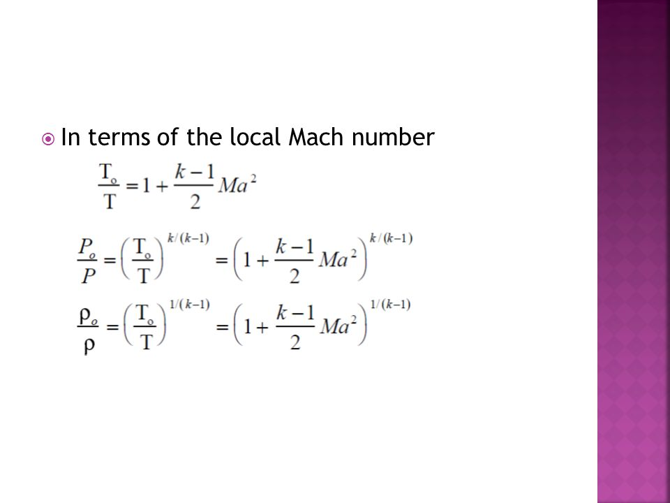  In terms of the local Mach number