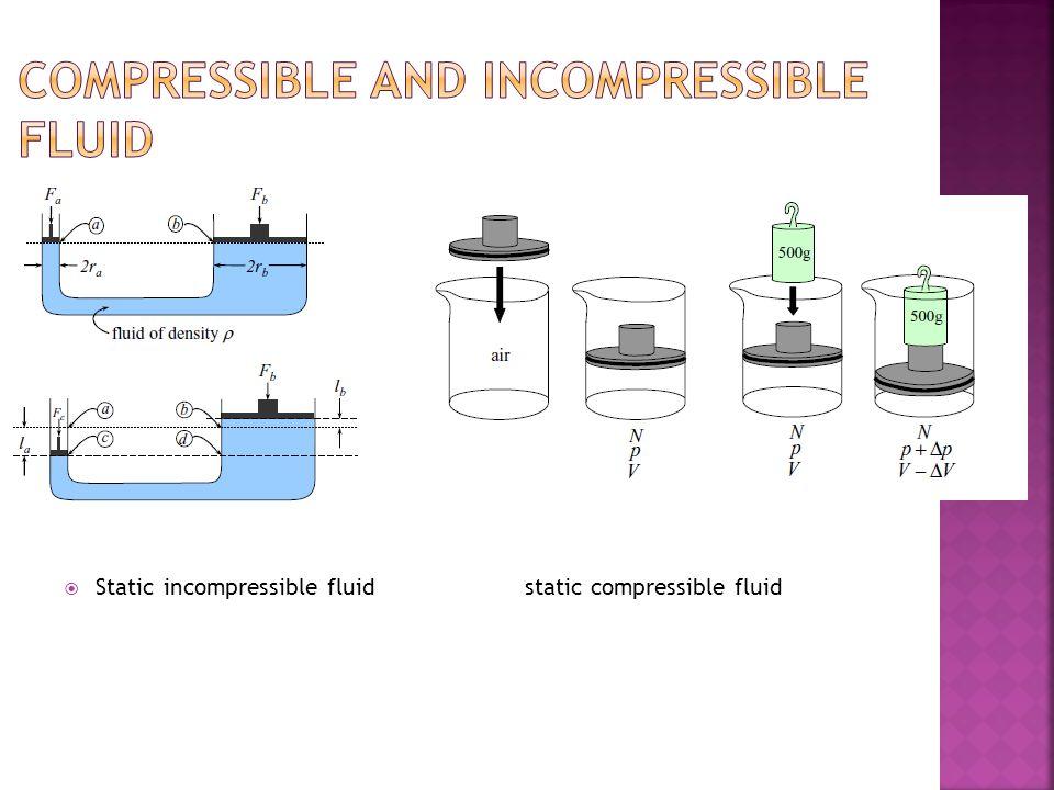  Static incompressible fluid static compressible fluid