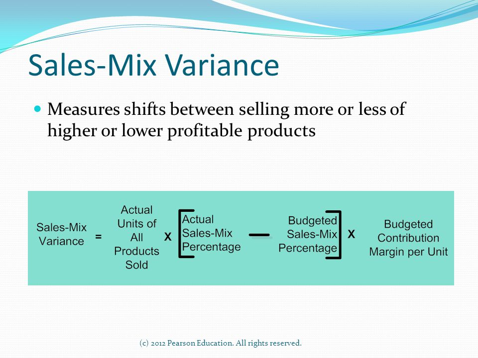 (c) 2012 Pearson Education. All rights reserved. Sales-Mix Variance Measures shifts between selling more or less of higher or lower profitable product