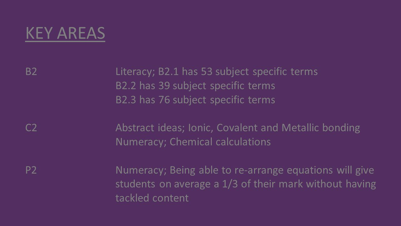 KEY AREAS B2 Literacy; B2.1 has 53 subject specific terms B2.2 has 39 subject specific terms B2.3 has 76 subject specific terms C2Abstract ideas; Ioni