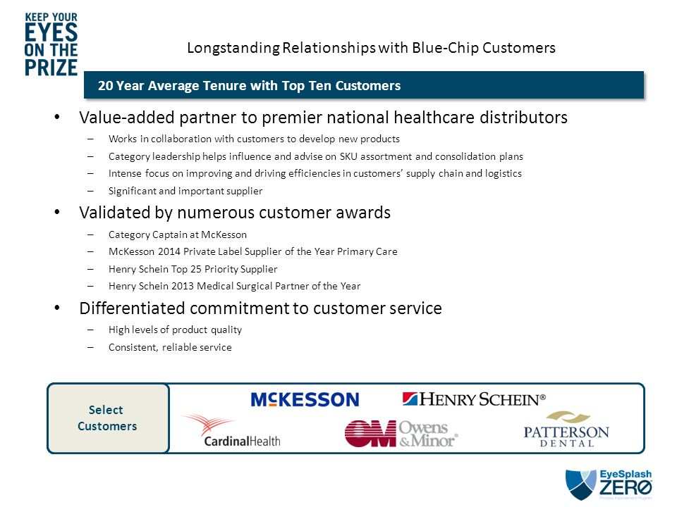 Longstanding Relationships with Blue-Chip Customers 20 Year Average Tenure with Top Ten Customers Value-added partner to premier national healthcare d