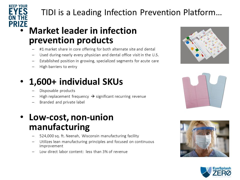TIDI is a Leading Infection Prevention Platform… Market leader in infection prevention products – #1 market share in core offering for both alternate site and dental – Used during nearly every physician and dental office visit in the U.S.