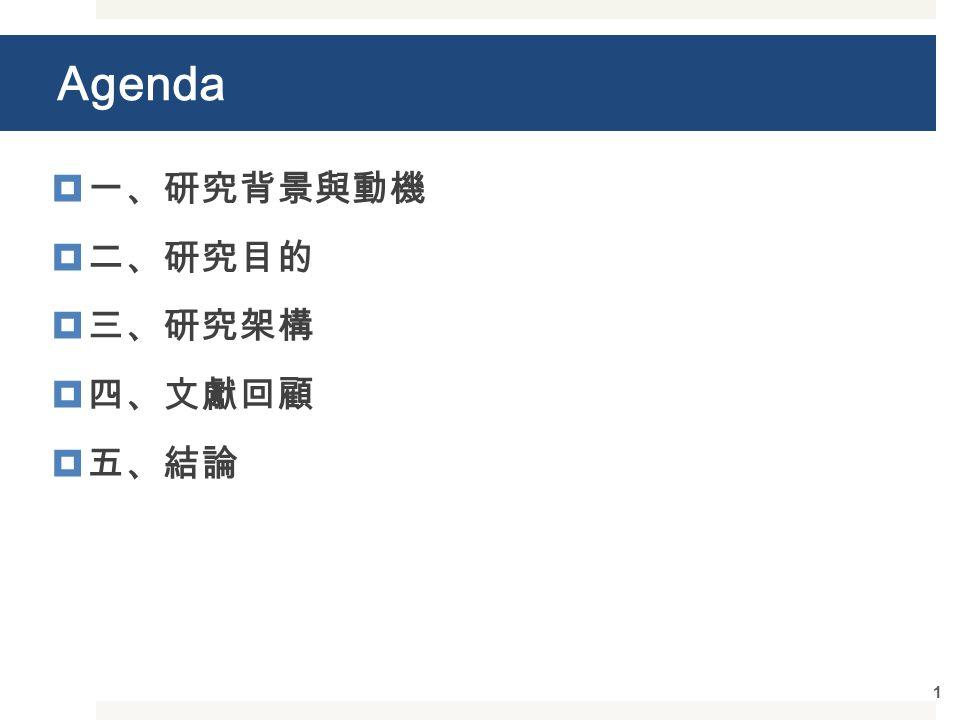 Agenda  一、研究背景與動機  二、研究目的  三、研究架構  四、文獻回顧  五、結論 1