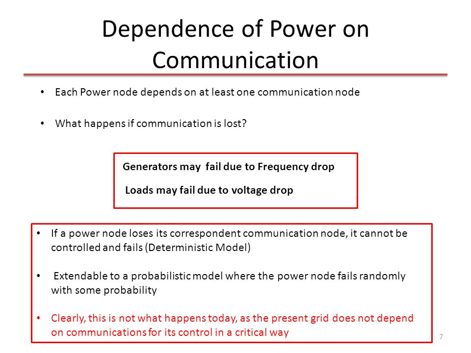 Dependence of Power on Communication 7 Each Power node depends on at least one communication node What happens if communication is lost? Loads may fai