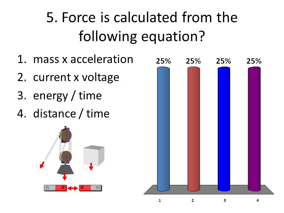 5. Force is calculated from the following equation? 1.mass x acceleration 2.current x voltage 3.energy / time 4.distance / time