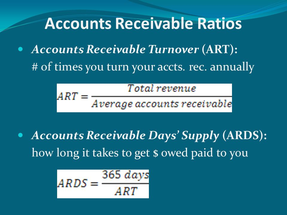 Accounts Payable Ratios Accounts Payable Turnover (APT): # of times you turn your accts.
