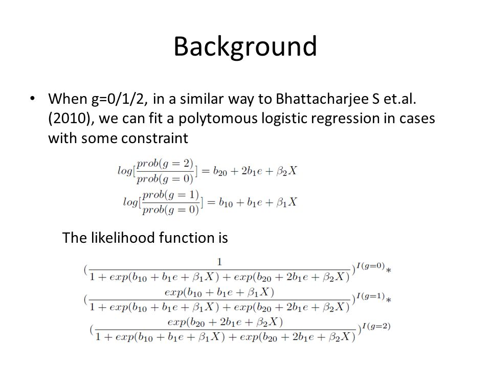Background When g=0/1/2, in a similar way to Bhattacharjee S et.al.