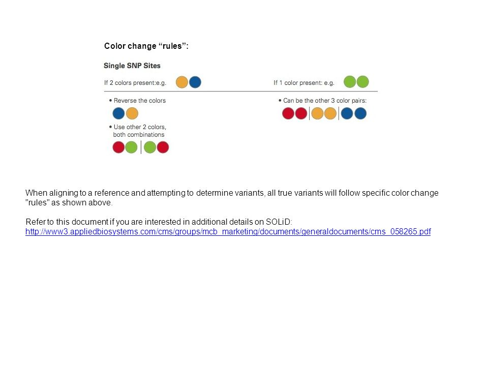 "Color change ""rules"": When aligning to a reference and attempting to determine variants, all true variants will follow specific color change"