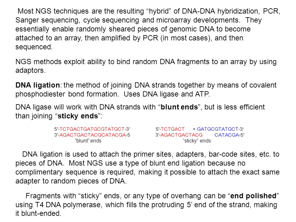 "Most NGS techniques are the resulting ""hybrid"" of DNA-DNA hybridization, PCR, Sanger sequencing, cycle sequencing and microarray developments. They es"