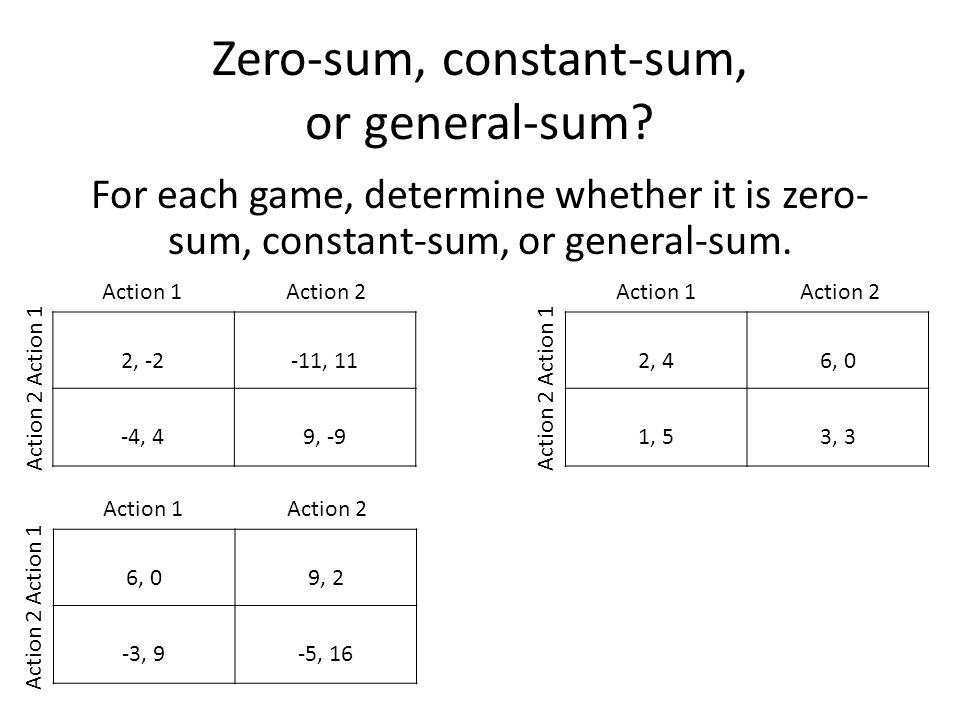Zero-sum, constant-sum, or general-sum.