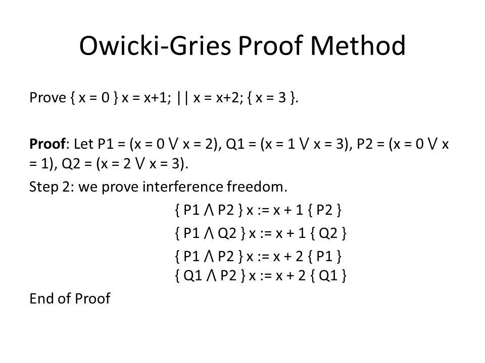 Owicki-Gries Proof Method Prove { x = 0 } x = x+1; || x = x+2; { x = 3 }.