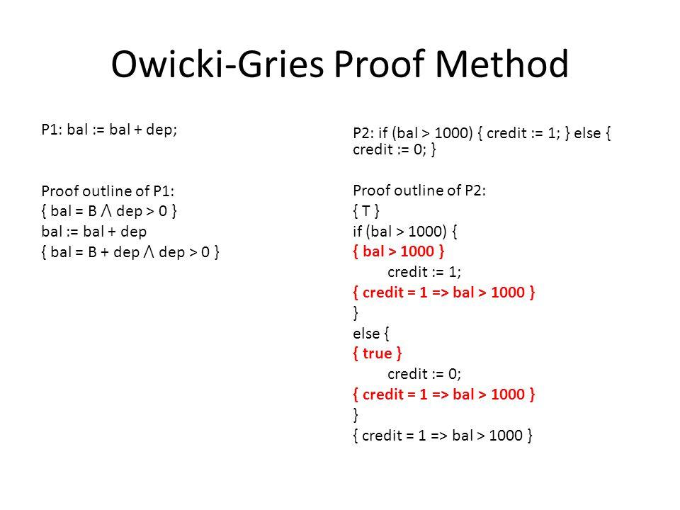 Owicki-Gries Proof Method P1: bal := bal + dep; Proof outline of P1: { bal = B ⋀ dep > 0 } bal := bal + dep { bal = B + dep ⋀ dep > 0 } P2: if (bal > 1000) { credit := 1; } else { credit := 0; } Proof outline of P2: { T } if (bal > 1000) { { bal > 1000 } credit := 1; { credit = 1 => bal > 1000 } } else { { true } credit := 0; { credit = 1 => bal > 1000 } } { credit = 1 => bal > 1000 }